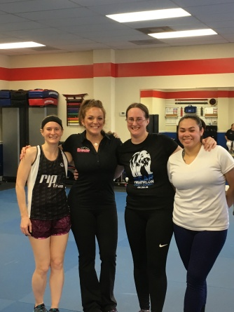We went to kickboxing class after the 5K. 'Cause why not?