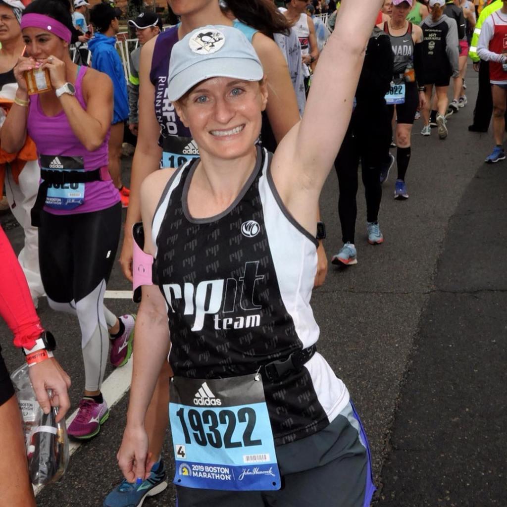 Lining up at the start of the 2019 Boston Marathon